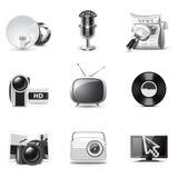 Ícones dos media | Série de B&W Imagem de Stock Royalty Free