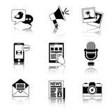 Ícones dos meios preto e branco Fotografia de Stock