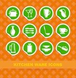 Ícones dos mercadorias da cozinha ilustração royalty free