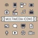 Ícones dos multimédios ilustração do vetor