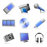 Ícones dos multimédios ajustados Fotografia de Stock Royalty Free