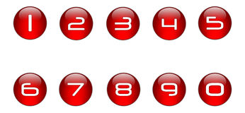 Ícones dos números do vermelho ajustados [01] Imagem de Stock Royalty Free