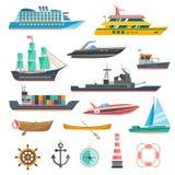 Ícones dos navios ajustados ilustração royalty free