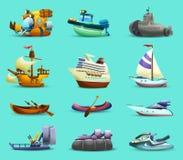 Ícones dos navios e dos barcos ajustados ilustração stock