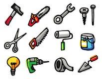 Ícones dos objetos das ferramentas Fotos de Stock