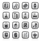 Ícones dos objetos do banheiro e da higiene ilustração do vetor