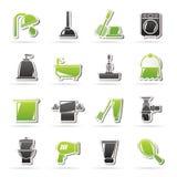 Ícones dos objetos do banheiro e da higiene Fotos de Stock Royalty Free