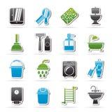 Ícones dos objetos do banheiro e da higiene Foto de Stock Royalty Free