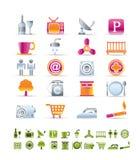 Ícones dos objetos do hotel e do motel Imagens de Stock Royalty Free