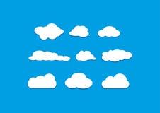 Ícones dos objetos do vetor das nuvens ajustados Foto de Stock