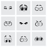 Ícones dos olhos dos desenhos animados do vetor ajustados ilustração stock