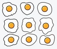 Ícones dos ovos fritos do vetor Imagens de Stock