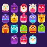 Ícones dos pássaros da fantasia ajustados Fotografia de Stock Royalty Free