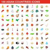100 ícones dos países asiáticos ajustaram-se, o estilo 3d isométrico ilustração royalty free