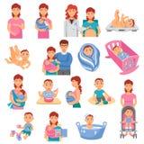 Ícones dos pais ajustados ilustração do vetor