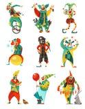 Ícones dos palhaços de circo ajustados ilustração royalty free