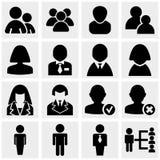 Ícones dos povos ajustados no cinza Imagem de Stock