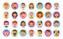Ícones dos povos ajustados Perfil do Avatar, caras diversas, rede social, símbolo do bate-papo Estilo liso da ilustração do vetor ilustração stock