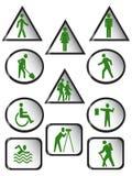 Ícones dos povos da advertência e da informação Ilustração do Vetor