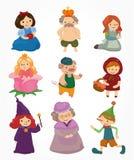 Ícones dos povos da história dos desenhos animados ajustados Foto de Stock Royalty Free