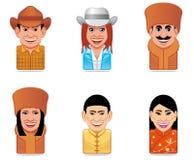 Ícones dos povos do mundo do Avatar (nós, russo, chineses) Imagens de Stock