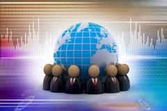 Ícones dos povos que dão forma a um círculo em torno da terra Imagens de Stock