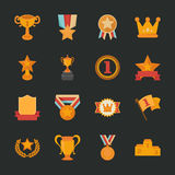 Ícones dos prêmios & das concessões, projeto liso Fotos de Stock Royalty Free