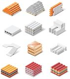Ícones dos produtos do edifício do vetor. Concreto da parte 1.