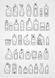 Ícones dos produtos químicos de agregado familiar Imagens de Stock