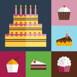 Ícones dos queques do aniversário ajustados Fotos de Stock
