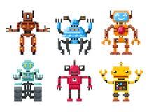 Ícones dos robôs do pixel grupo do vetor de 8 bot do bocado Fotografia de Stock Royalty Free