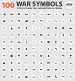 Ícones dos símbolos da guerra ajustados Fotografia de Stock Royalty Free