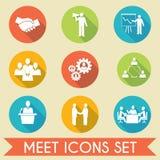 Ícones dos sócios comerciais da reunião ajustados Imagem de Stock