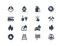 Ícones dos sapadores-bombeiros Fotografia de Stock Royalty Free