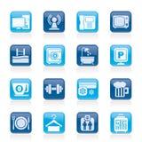 Ícones dos serviços das cortesias do hotel Imagens de Stock