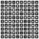100 ícones dos serviços de hotel ajustados pretos ilustração do vetor