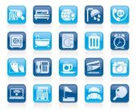 Ícones dos serviços do hotel e do motel Fotos de Stock