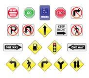 Ícones dos sinais de tráfego Fotografia de Stock