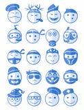 20 ícones dos sorrisos ajustaram a profissão azul Fotos de Stock Royalty Free
