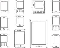 Ícones dos telefones celulares, dos telefones celulares e dos smartphones Ilustração Royalty Free