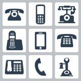 Ícones dos telefones do vetor ajustados Fotos de Stock