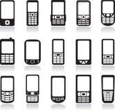 Ícones dos telefones móveis ajustados Fotografia de Stock Royalty Free