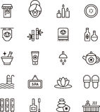 Ícones dos termas & do bem-estar Imagens de Stock