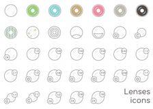 Ícones dos tipos de lentes ilustração royalty free