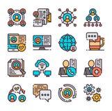 16 ícones dos trabalhos em rede do vetor ajustados Ilustração do vetor Fotos de Stock