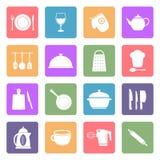 Ícones dos utensílios da cozinha Fotografia de Stock Royalty Free