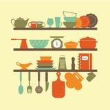Ícones dos utensílios da cozinha Fotografia de Stock