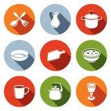 Ícones dos utensílios de mesa ajustados Fotos de Stock