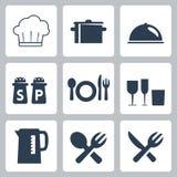 Ícones dos utensílios de mesa do vetor ajustados Imagem de Stock Royalty Free