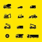 Ícones dos veículos da construção ilustração stock